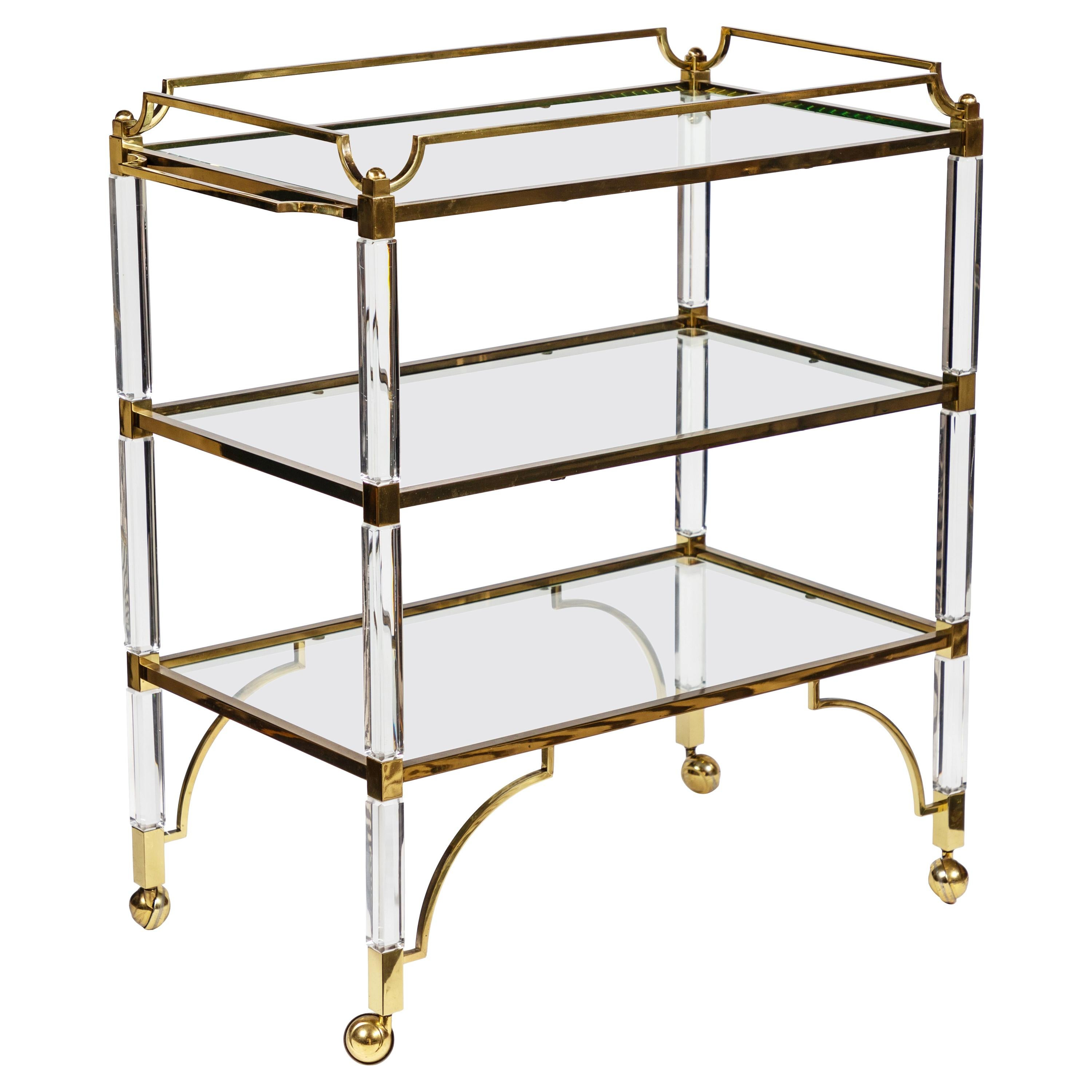 1980s Lucite and Brass Cart