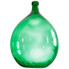 Monumental Hand Blown Green Demijohn Bottle, Early 20th Century American Glass
