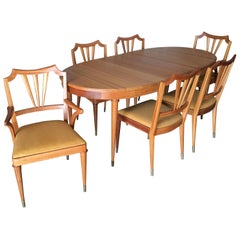 Formal Mid-Century Dining Room Table and Set of Six Chairs
