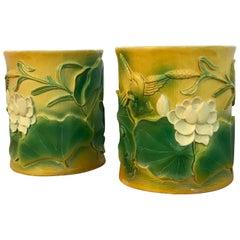 Pair of Hollywood Regency Chinese Bamboo Motif Brushpot Motif Cachepots