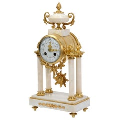 Japy Freres White Marble and Ormolu Antique French Portico Clock