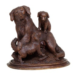 Black Forest Carved Mother Dog with Puppies, Brienz, circa 1900