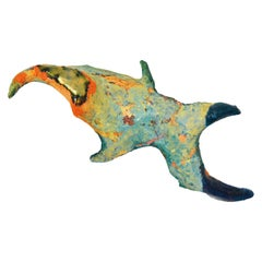 'Fish I' Handmade Ceramic and Paper-Clay Wall Sculpture with Blue and Orange