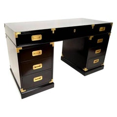 Black Lacquered and Brass Campaign Desk