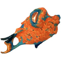 Fish II, Handmade Ceramic and Paper-Clay Wall Sculpture with Blue and Orange