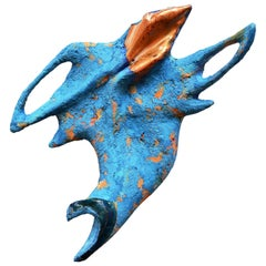 """Flying Form"" Handmade Ceramic and Paper-Clay Wall Sculpture with Blue, Orange"