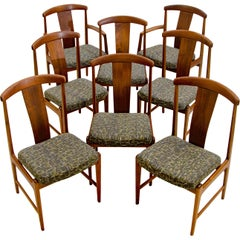 Set of Eight Walnut Dining Chairs, Folke Ohlsson for DUX