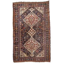 Handmade Antique Gashkai Style Rug, 1900s, 1B753