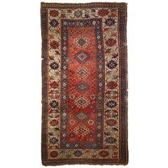 Handmade Antique Caucasian Kazak Rug, 1880s, 1B758