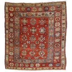 Handmade Antique Turkish Melas Square Rug, 1880s, 1B759