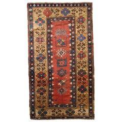 Handmade Antique Caucasian Kazak Rug, 1880s, 1B760