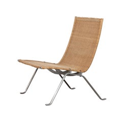 Poul Kjaerholm PK22 Lounge Chair with patinated wicker for E Kold Christensen
