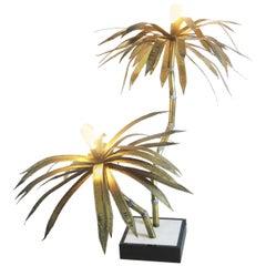 Brass Palm Tree Floor Lamp 1970s, attributed to Maison Jansen