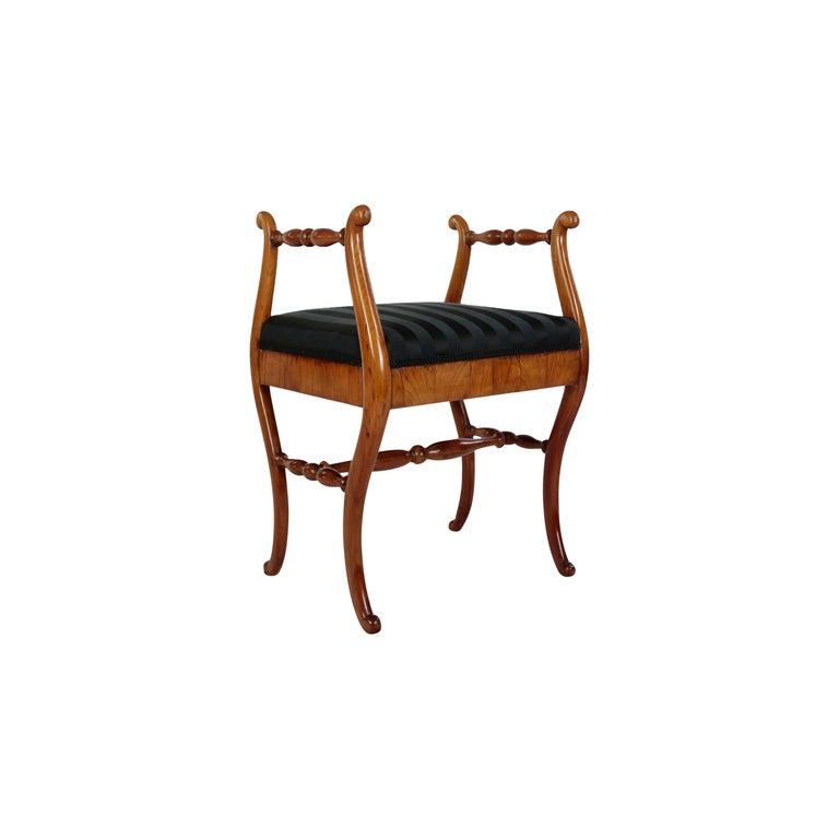 19th Century Biedermeier Period Upholstered Stool, Cherrywood, circa 1820-1830 For Sale