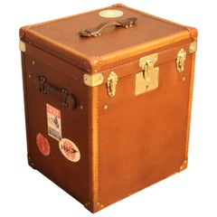 1930s French Tall Brown Canvas Hat Trunk, Hat Box