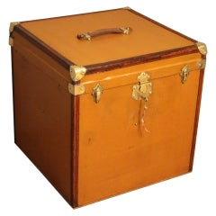 "1930s Light Brown Canvas Extra Large ""Cube Shape"" French Hat Trunk, Hat Box"