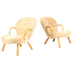 Pair of Vintage Clam Chairs by Philip Arctander, Danish modern 1940s