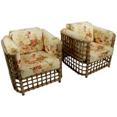Suite of Willow Reed Bamboo Chairs and Ottoman by Henry Olko