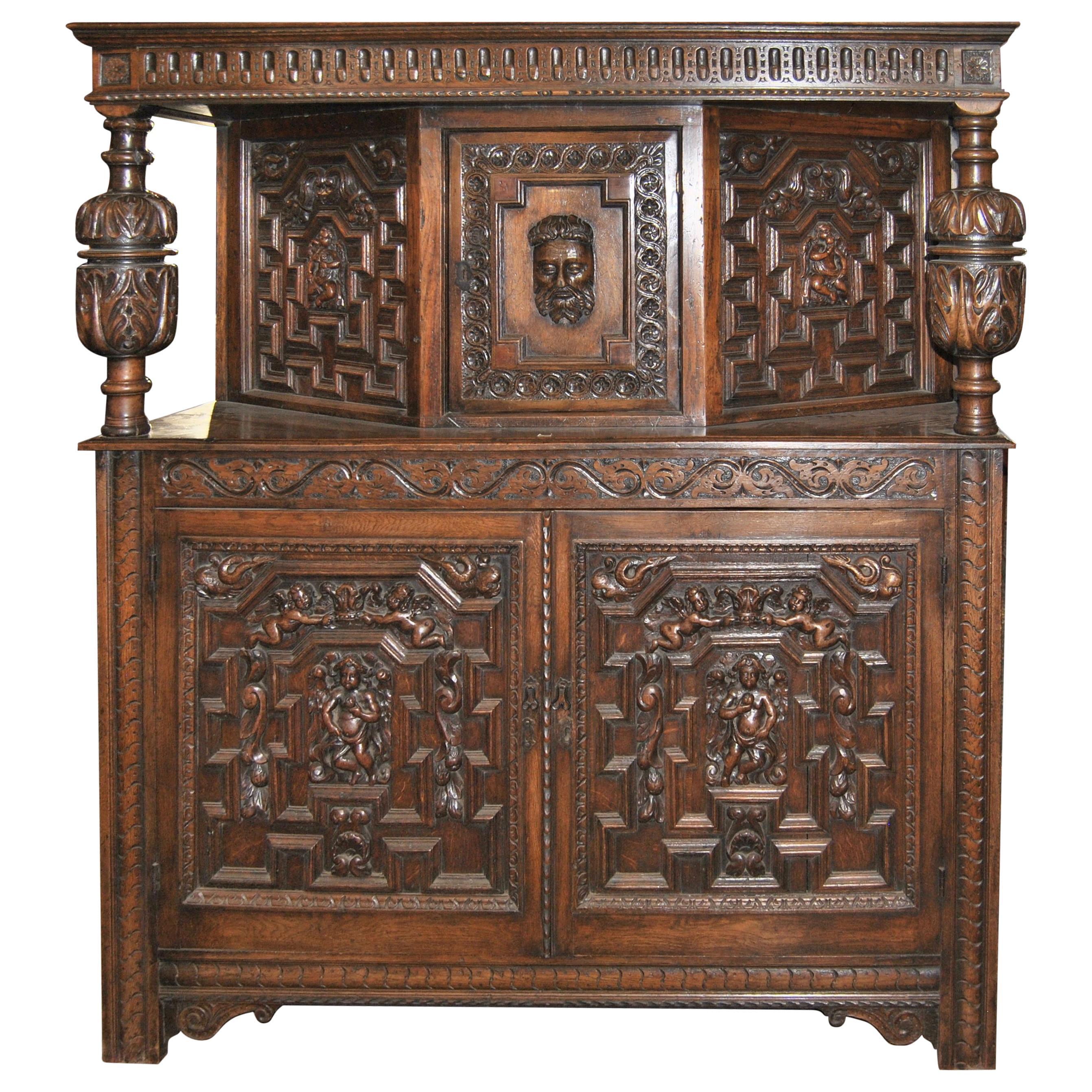 19th Century Carved Oak Court Cupboard