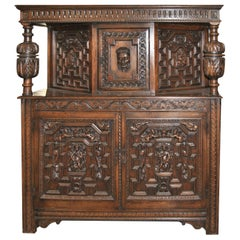 19th Century Carved Oak Court Cupboard