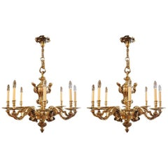 Pair of magnificent Antique Bronze Chandeliers, early 20th century Circa 1910