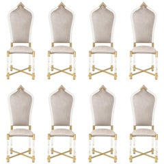Fabulous Rare Set of Eight Italian Dining Chairs by Antonio Pavia