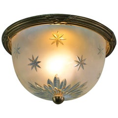 Set of Four French Bronze and Cut Glass Flush Mount Light Fixtures