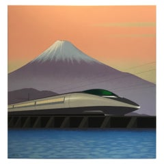 Japanese Bullet Train, Original Painting by Lynn Curlee