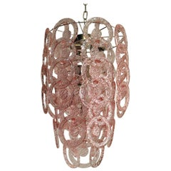 1970s Murano Vistosi Glass Chandelier, 65 Pink Hooks