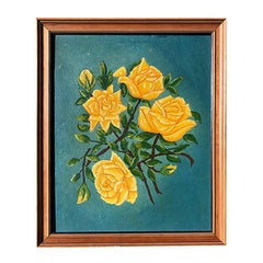 Floral Motif Yellow Citron Rose Painting Blue Background Wooden Frame Chintz