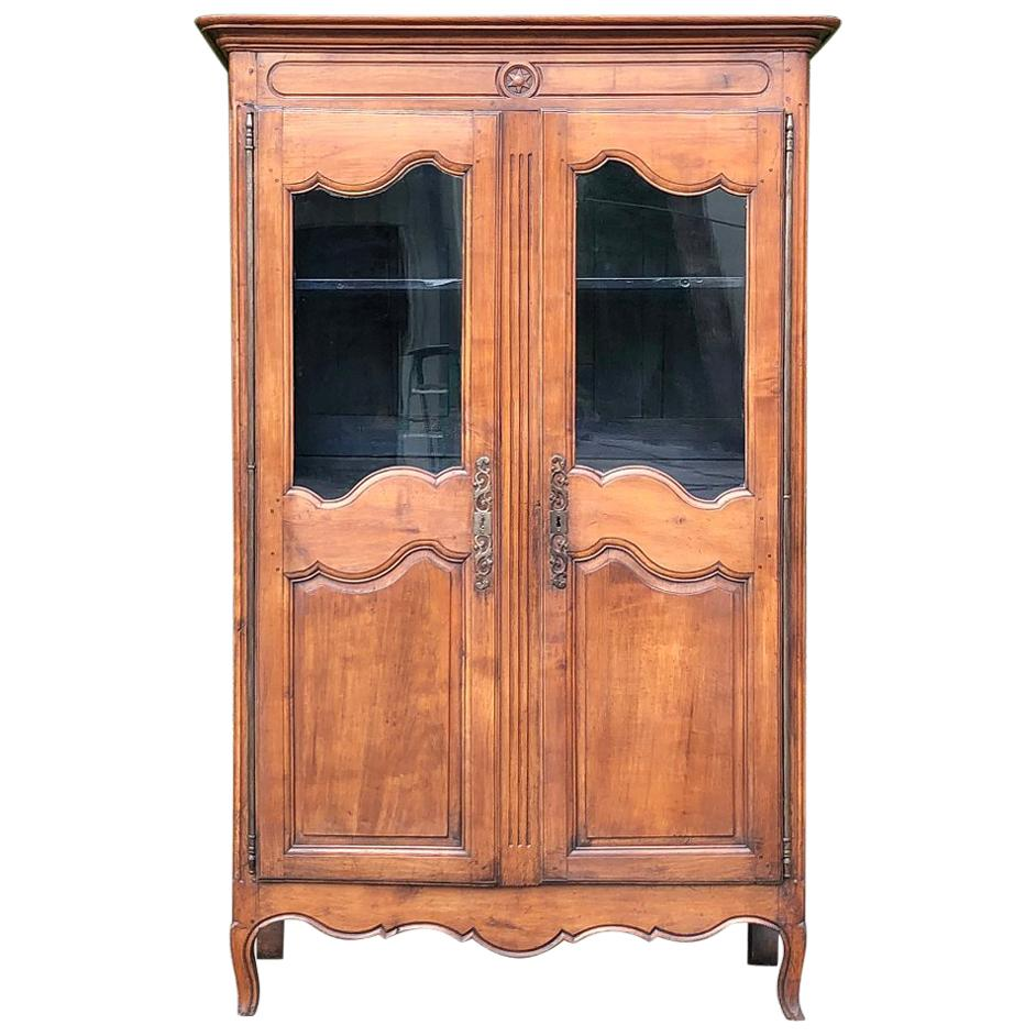 Early 19th Century Country French Provincial Fruitwood Bookcase, Vitrine