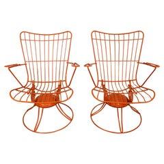 Pair of Mid-Century Modern Homecrest Bottemiller Swivel Rocker Lounge Chairs