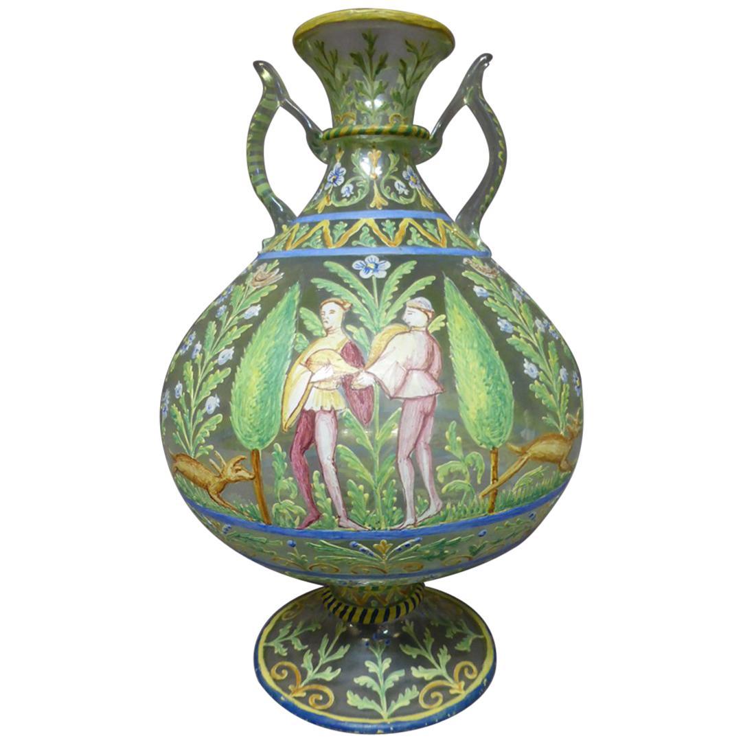 Late 19th Century Renaissance Style Blown Polychrome Vase