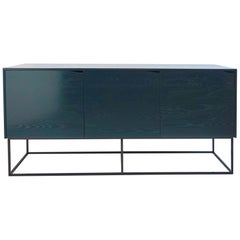 Rustic Modern Credenza, Handcrafted from Lacquered Ash with Steel Base