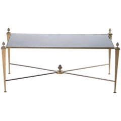 French Maison Ramsay Gold Gilt and Opaline Coffee Table, 1960s