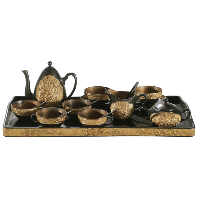 19th Century French Decorative Tea Set, circa 1870s For Sale