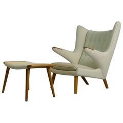 Hans Wegner for AP Stolen, Denmark, Signed Papa Bear Lounge Chair and Ottoman