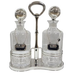 20th Century Italian Solid Silver 800 Tantalus with Two Cristal 24% Bottles
