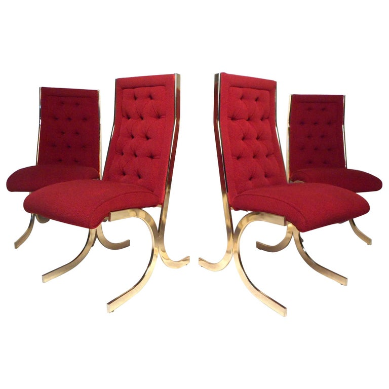 Set of 4 Midcentury Dining Chairs after Milo Baughman For Sale