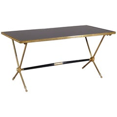 French Neoclassical Raphaël Brass and Opaline Coffee Table, 1960s