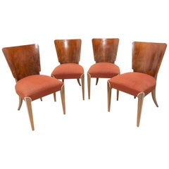 Art Deco dining chairs H-214 by Jindrich Halabala for ÚP Závody, 1950s