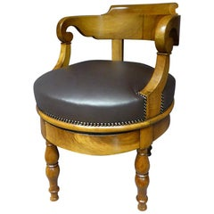 19th Century French Walnut and Leather Turning Office Armchair