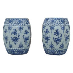 Pair of Blue and White Porcelain Garden Seats / End Tables