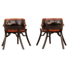 Pair of Black Lacquer Drums with Stands or End Tables