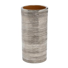 Bitossi Vase, Metallic Brushed Silver Chrome, Signed