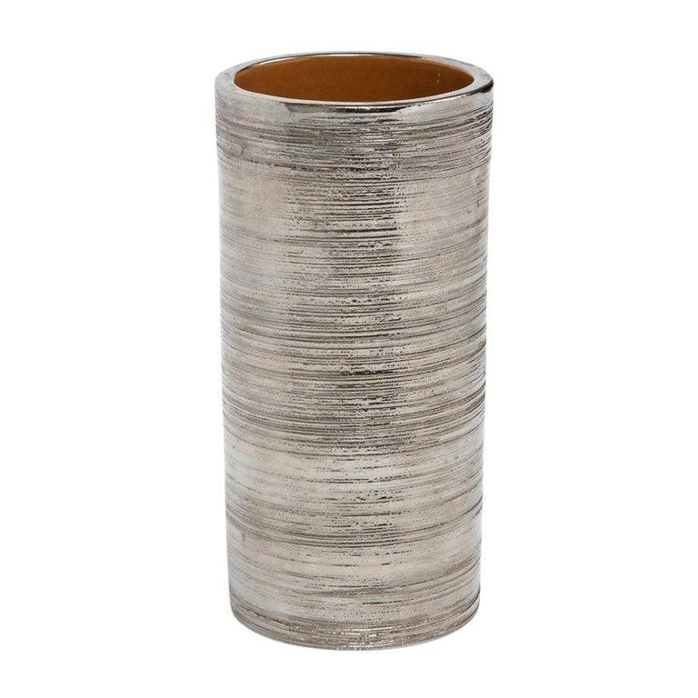 Bitossi Vase, Metallic Brushed Silver Chrome, Signed For Sale