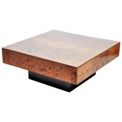 French Burl Wood Table with Two Drawers