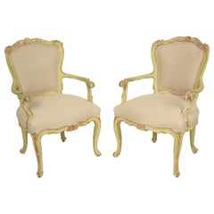 Pair of Antique Louis XV Style Painted Armchairs