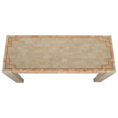 Tessellated Stone and Inlay Brass Console Table by Maitland-Smith, 1980s