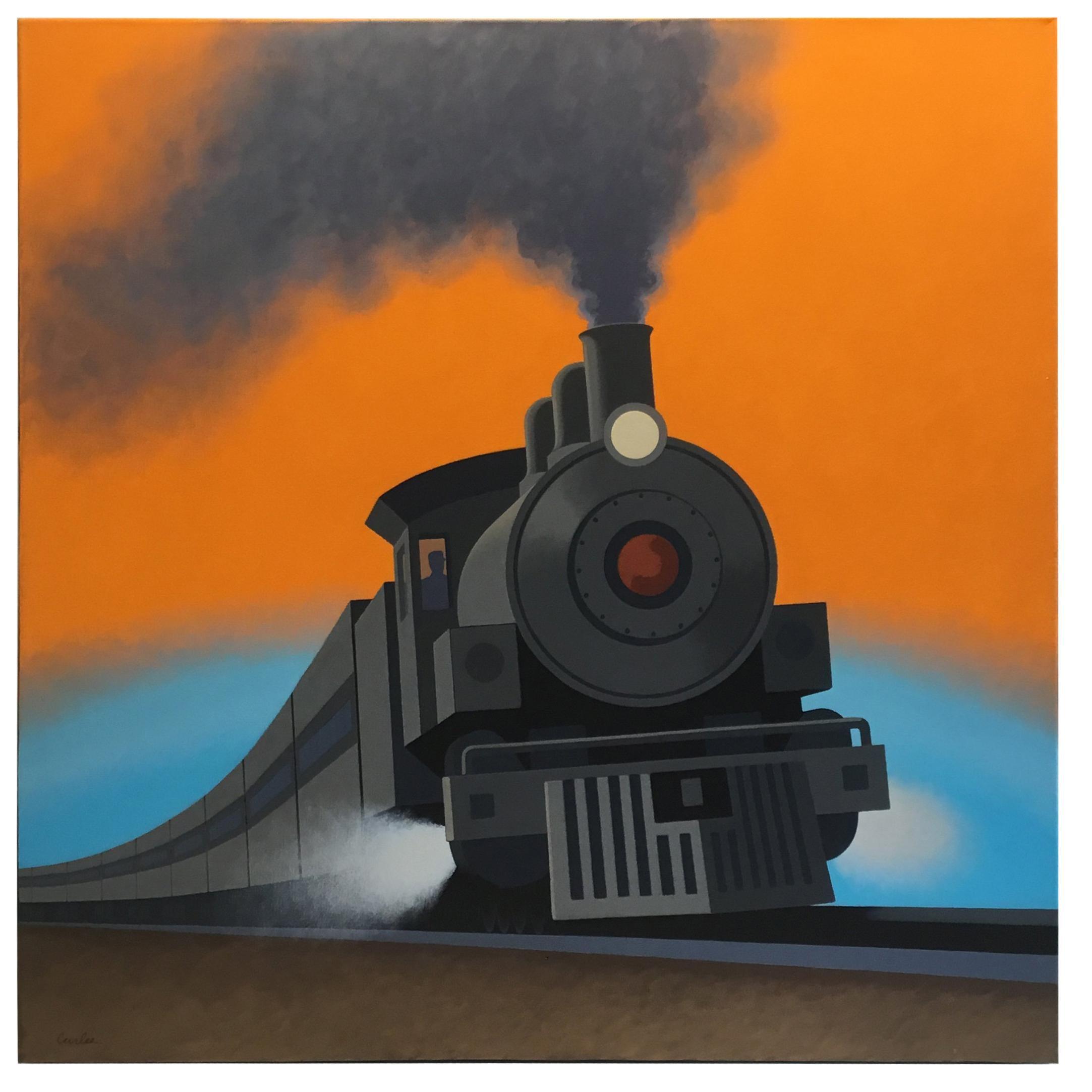 Locomotive, Original Painting by Lynn Curlee